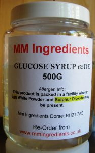 A bottle of 63DE glucose syrup
